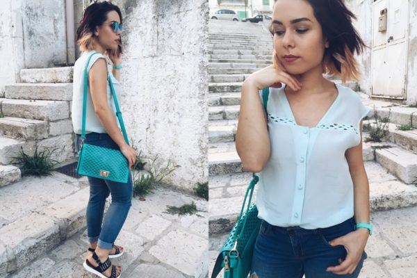 Jeans in estate, color acquamarina, fashion blogger Puglia
