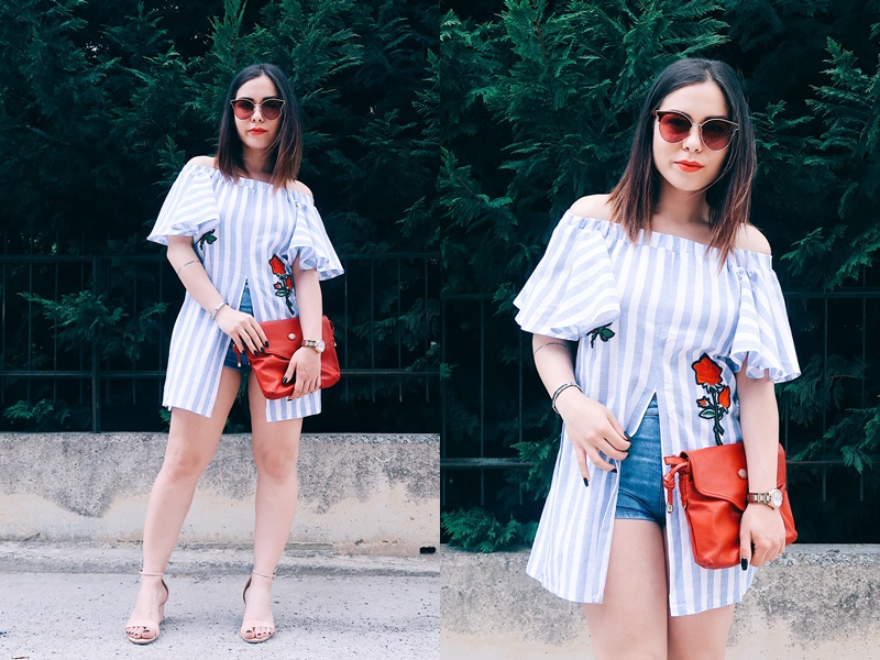 Outfit fashion blogger, camicetta a righe bianco e celeste, patch rose