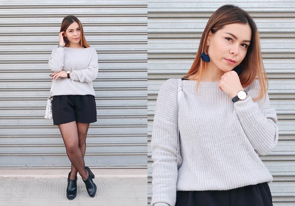 Maglione Grigio e Shorts Neri per un Outfit Easy Chic | Blog